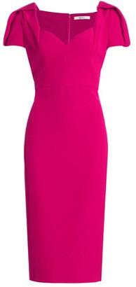 Badgley Mischka Pleated-Sleeve Crepe Sheath Dress