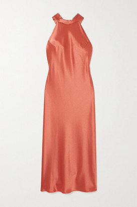 Galvan Sienna Satin Halterneck Midi Dress - Bronze
