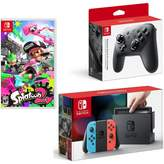 "Nintendo Neon Switch Bundle with Pro Controller and ""Splatoon 2"" Game"