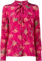 Valentino floral tie neck blouse