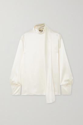 Tom Ford Draped Silk-satin Blouse - White