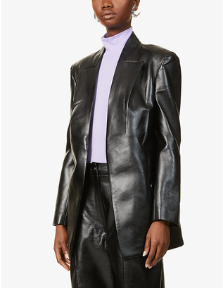 MATÉRIEL Peak lapel faux-leather blazer