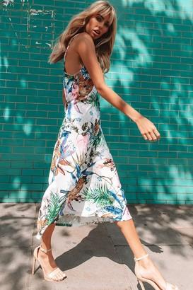 Linzi Coyote White Jungle-Print Satin Midi Slip Dress