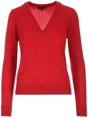 Theory Ribbed V-Neck Knit Sweater