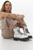 Dr. Martens Jadon White Platform 8-Eye Boots - white UK 4 at Urban Outfitters