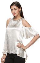 JLO by Jennifer Lopez Women's Cold-Shoulder Handkerchief Top