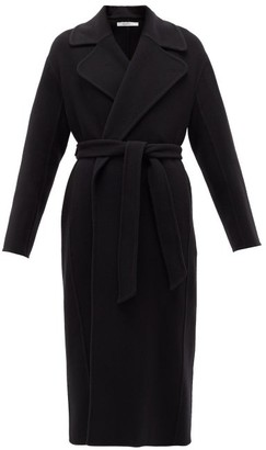 Another Tomorrow - Double-breasted Merino-wool Midi Coat - Womens - Black