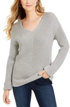 Charter Club Cotton Textured V-Neck Sweater, Created For Macy's