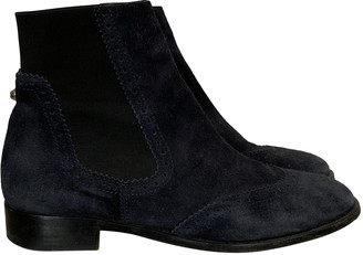 Balenciaga Blue Suede Ankle boots