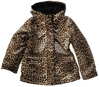 Urban Republic Leopard Print Faux Shearling Lined Raincoat (Big Girls)