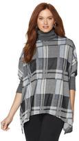 Slinky Brand Plaid Sweater Poncho with Turtleneck