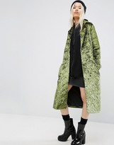 Asos Longline Coat in Quilted Velvet