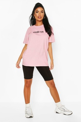 boohoo Petite 'Having Fun' Washed Slogan T-Shirt