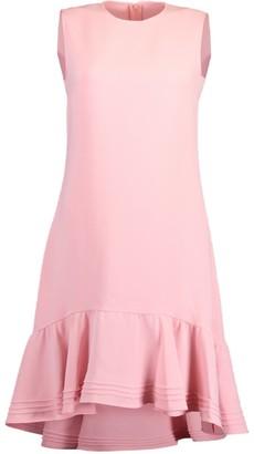 Victoria Victoria Beckham Milkshake Pink Pintuck Flounce Hem Shift Midi Dress