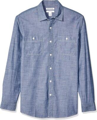 Amazon Essentials Regular-fit Long-sleeve Chambray Shirt Button
