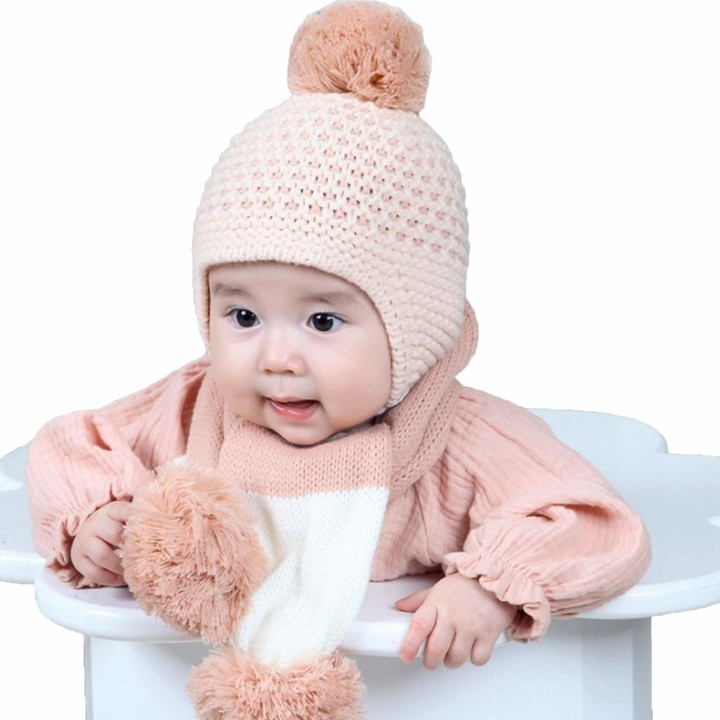 XIAOHAWANG Winter Baby Hats Boys Girls Cute Pom Pom Toddler Warm Beanies Earflap Kids Knit Caps Infant
