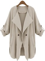MAGIC UNION Magic Boxs Women's Casual Collarless Outsize Outwear Tops Trench Coat