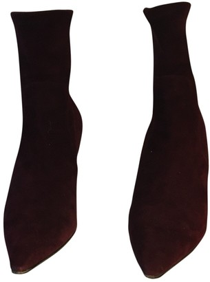 Christian Dior Burgundy Suede Ankle boots