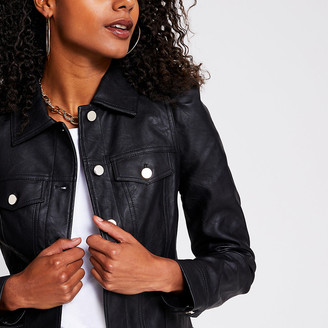 River Island Black faux leather puff sleeve jacket