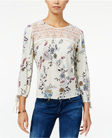 American Rag Printed Crochet-Yoke Blouse, Only at Macy's