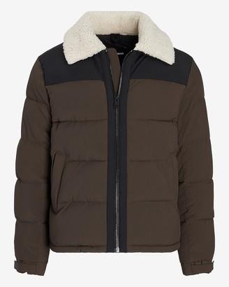 Express Nylon Sherpa Collar Puffer Jacket