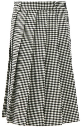 Ami Pleated Check Wool-blend Twill Suit Skirt - Black White