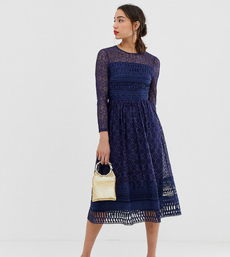Asos Tall ASOS DESIGN Tall Premium lace midi skater dress in navy