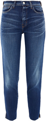 L'Agence Nicoline Cropped Frayed High-rise Slim-leg Jeans