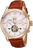Peugeot Men's MK907RBR Rose Gold-Tone Stainless Steel Watch with Brown Leather Band
