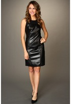 DKNY DKNYC - Sleeveless Dress w/ Faux Leather (Black) - Apparel