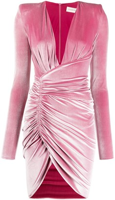 Alexandre Vauthier Ruched Asymmetric Velvet Dress