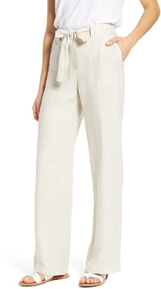Caslon Tie Belt Linen Pants