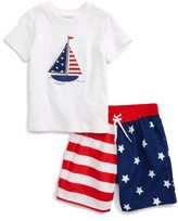 Little Me Infant Boy's Stars & Stripes Swim Trunks & T-Shirt Set