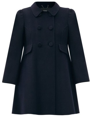 MARC JACOBS, RUNWAY Marc Jacobs Runway - Double-breasted Pea-collar Pleated Wool Coat - Navy