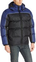 Avia Men's Colorblock Puffer Jacket with Removable Hood