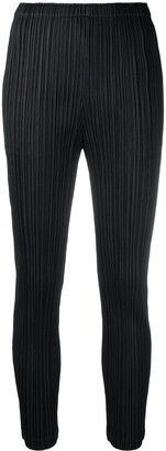 Pleats Please Issey Miyake Mid-Rise Textured Tapered Trousers