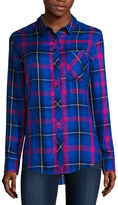 Arizona Long-Sleeve Oversized Plaid Shirt - Juniors