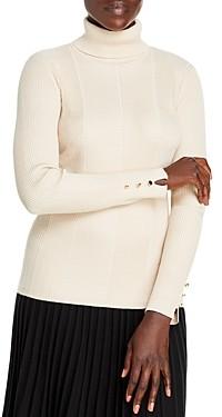 T Tahari Ribbed Turtleneck Sweater