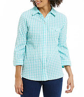 Allison Daley Button-Up Gingham Blouse