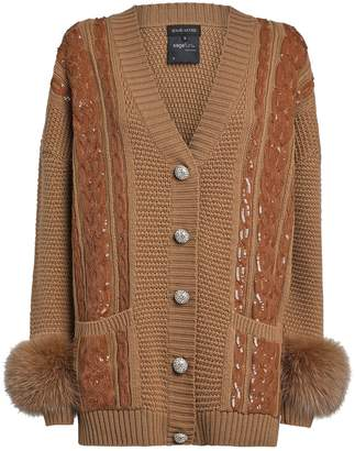 Izaak Azanei Embellished Fox Fur Cardigan