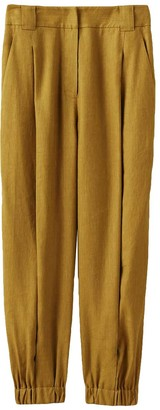 Tibi Wesson Linen Double Waisted Sculpted Pant in Tan Ochre