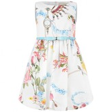 Girls Ivory Flower & Jewel Print Dress