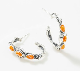 American West Sterling Silver Dakota Gemstone Hoop Earrings