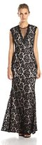 Betsy & Adam Women's Long Lace Deep V