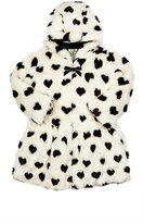 American Widgeon AMERICAN WIDGEON HEART-PRINT FAUX-FUR HOODED COAT SIZE 10