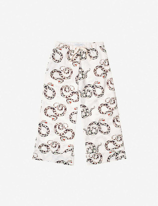 Desmond & Dempsey The Kaa snake-print wide-leg organic cotton pyjama bottoms