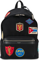 Saint Laurent City patch embellished backpack - men - Cotton/Leather - One Size