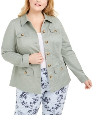 Charter Club Plus Size Button-Front Utility Jacket, Created for Macy's