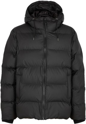 Rains Black Quilted Shell Jacket