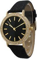 OLIVIA PRATT Olivia Pratt Womens Gold-Tone Rhinestone Accent Black Denim Faux Leather Strap Watch 14087